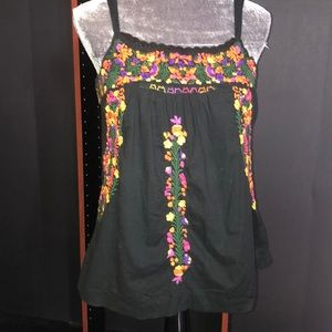 Lucky brand rainbow floral embroidered top